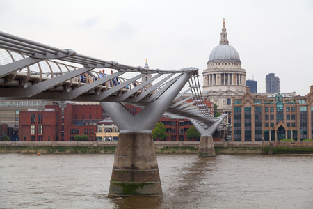 Millenium bridge and St Paul Cathedral in London, UK
