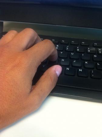 Hand on the keyword
