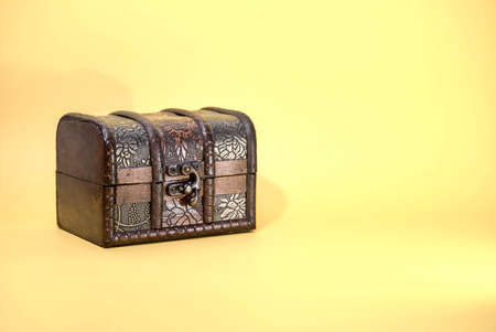 Antique wooden trunk lined with leather Archivio Fotografico