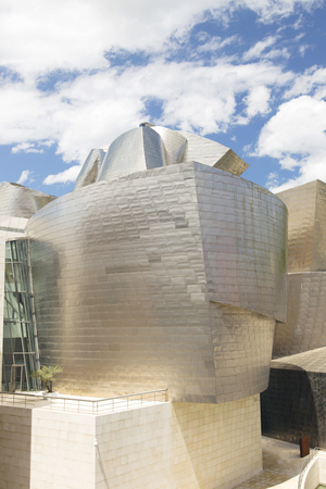 bilbo: Bilbao, Spain - May 09, 2016: Exterior view of the east side of the Guggenheim Bilbao Museum. This Museum is dedicated exhibition of modern art. Editorial