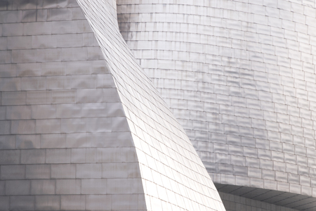 bilbo: BILBAO, SPAIN - MAY 26, 2016: Detail at the sunset of the titanium plates cover That the Guggenheim Bilbao Museum. This Museum is dedicated exhibition of modern art. Editorial