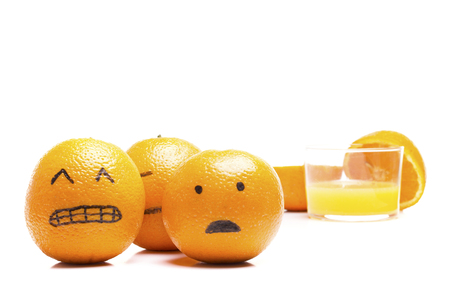 anguish: Oranges running away from a glass of juice!. Funny moment.