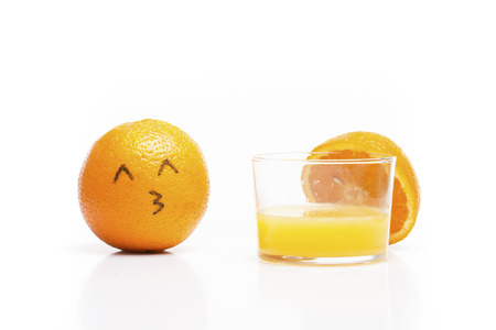 loves: Orange loves juice!. Meeting its Half-Orange?. Funny relationship. Stock Photo