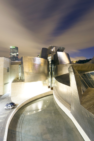 bilbo: Bilbao, Spain - July 27, 2016: Exterior view al night  of the east side of the Guggenheim Bilbao Museum. This Museum is dedicated exhibition of modern art. Wide angle photography. Editorial