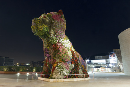 bilbo: Bilbao, Spain - September 12, 2016: Puppy guarding the Guggenheim Museum at night. Puppy is a sculpture designed by Jeff Koons in 1992, in front of the Guggenheim museum of Bilbao, Spain. Wide angle shot. Editorial