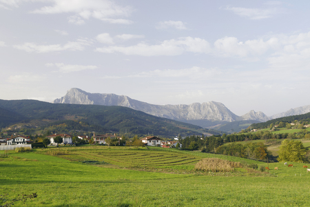 Elorrio town and Anboto mountain, Biscay, Basque Country, Spain. Urkiola national park.