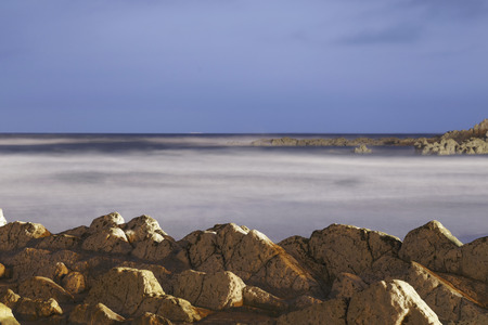 Serene seascape in Atxabiribil beach, Biscay, Basque Country, Spain. Long exposure shot. Banque d'images