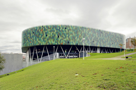 BILBAO, SPAIN - NOVEMBER 14, 2017: Bilbao Arena, is an indoor arena. Can hold up to ten thousand people for basketball games or concerts and other kinds of shows. Éditoriale