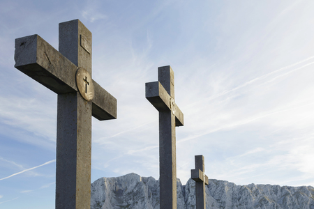 Urkiola natural park, Basque Country, Spain. The three crosses. Banque d'images