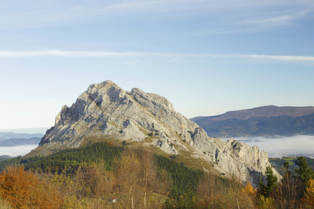 Urkiola natural park, Basque Country, Spain. Clouds in autumn.