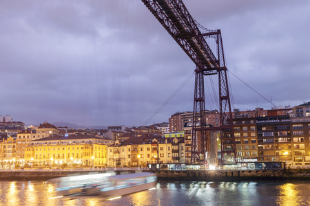 Detail of one tower and the cabin of the Bizkaia Bridge, Biscay, Basque Country, Spain.