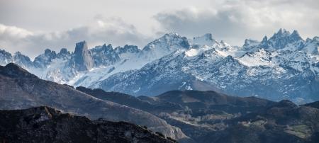 picos: Panoramic view of the Picos de Europa mountains Stock Photo
