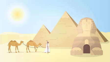 A shepherd leads camels through the desert. Egyptian pyramids, sphinx. Vector.