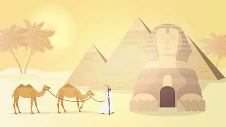 The shepherd leads camels through the desert. Egyptian pyramids, sphinx. Vector.