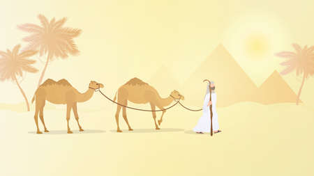 A shepherd leads camels through the desert. Vector.