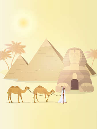 A shepherd leads camels through the desert. Egyptian pyramids, sphinx. Vector illustration.