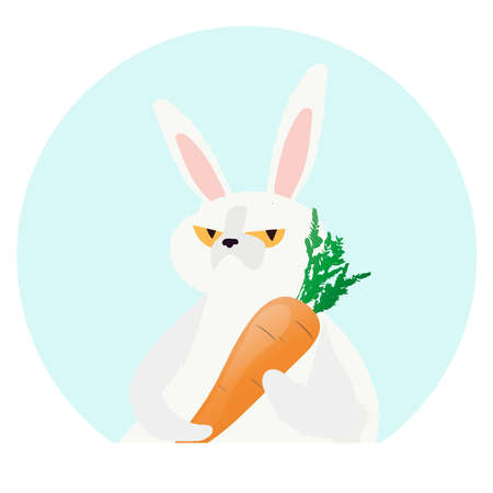 White hare holds a carrot. Rabbit with a serious look. Vector illustration. Çizim