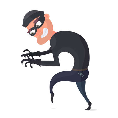 Thief vector illustration. Burglar in black mask isolated on white background. Suitable for topics of security, protection and robbery.