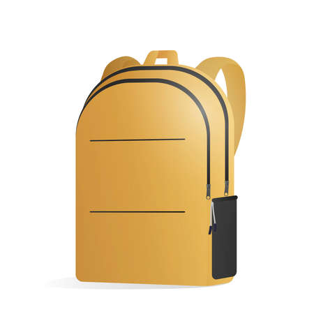 Yellow school backpack isolated on a white background. Realistic vector briefcase. Design element on the theme of tourism and return to school.