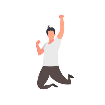 Man in a jump with a raised hand. Isolated on a white background. The symbol of victory. Vector.