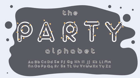 Party alphabet. White letters with black garlands. For commercial design, lettering and printing. Vector. Ilustração