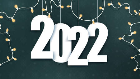 2022 banner. Green background with space for text. Dark green banner with garlands and a festive pattern. Vector.