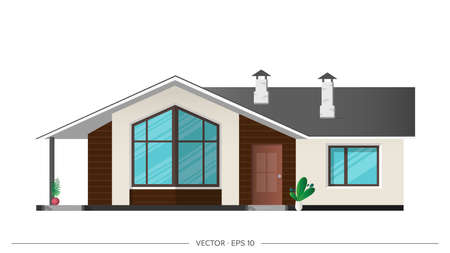 Modern house, villa, cottage, town house with shadows. Architectural visualization of the cottage outside. Realistic vector illustration.