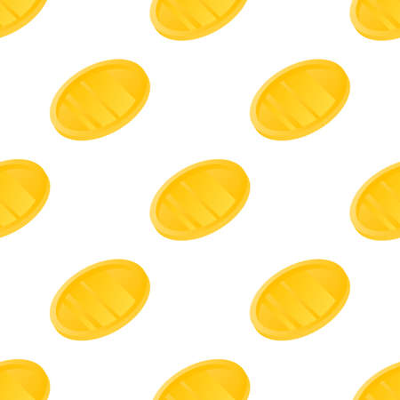 Money coins seamless pattern background. Business flat vector illustration. Gold money coin symbol pattern. Ilustração