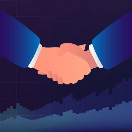 Handshake between businessmen, business partners. Background with financial charts. The concept of successful negotiations and transactions. Vector illustration.