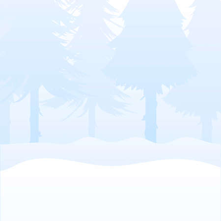 Winter in the forest with fir trees. Square background for design on the theme of New Year and Christmas. Vector.
