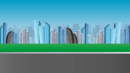 Cityscape with large modern buildings. Street, highway. The concept of the city. Vector illustration.