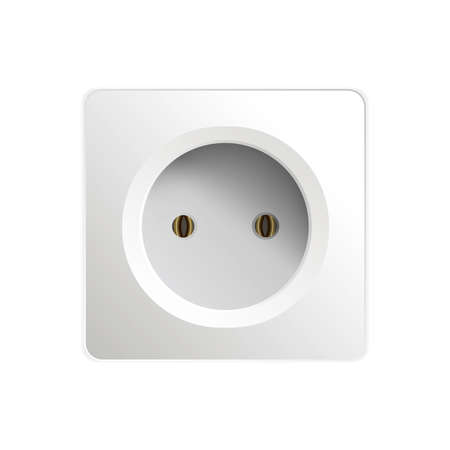 White socket isolated on a white background. Realistic white socket. Vector illustration.