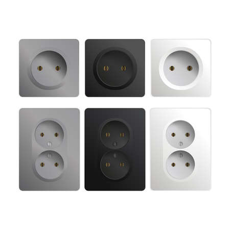 Set of sockets isolated on a white background. Realistic black, white and gray rosette. Interior design element. Vector illustration Ilustração