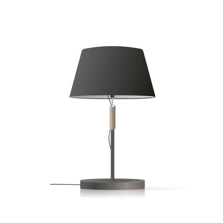 Decorative table lamp. Original model with a black silk lampshade and a metal leg. For living room, bedroom, study and office. Vector illustration on a white background.