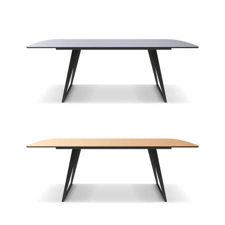 Loft style table isolated on white background. A table with a wooden surface and a black metal frame. Vector.