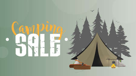 Camping sale. Green banner. Tent, Silhouette Forests, bonfire, logs, ax, tent, river, trees. Vector illustration