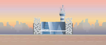 Modern airport. Runway. Airport in a flat style. Silhouetted by the city. Vector illustration