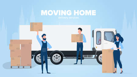Moving home banner. Moving to a new place. White truck, Movers carry boxes, a girl checks the presence in the list. Carton boxes. The concept of transportation and delivery of goods. Vector.