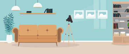 Modern bright room. Living room with a sofa, wardrobe, lamp, paintings. Furniture. Interior. Vector.