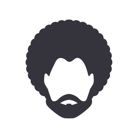black man portrait with afro curly design, Barber shop and hairstyle. Healthy sporty young black man with beard, mustache and sideburns. Vecteurs