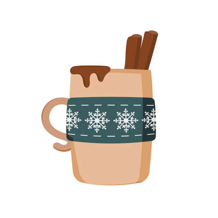 A mug of coffee with cinnamon for the holiday of Christmas. A Christmas mug of hot chocolate or a winter cup of cappuccino and latte. Vector illustration, icon, flat style.