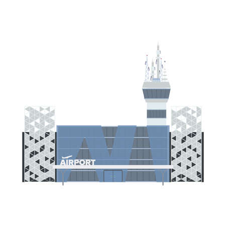 Modern airport. Airport in a flat style. Isolated on a white background. Vector illustration.