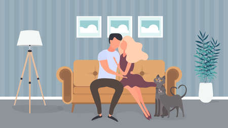 Loving couple sitting on the sofa in the room. Lovers hug each other. Suitable for the design of cards, banners and posters on the theme of love and Valentine's Day. Vector.