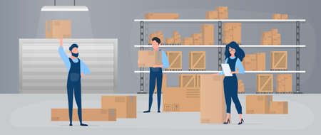 Large warehouse with drawers. Movers carry boxes. The girl with the list checks availability. Carton boxes. The concept of transportation, delivery and logistics of goods. Vector.