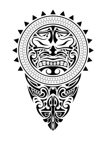 Polynesian tattoo design mask. Frightening masks in the Polynesian native ornament. Isolated vector illustration