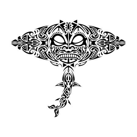 Stingray Polynesian style. Stingray tattoo in polynesia style. Good for tattoos, prints and t-shirts. Isolated. Vector.