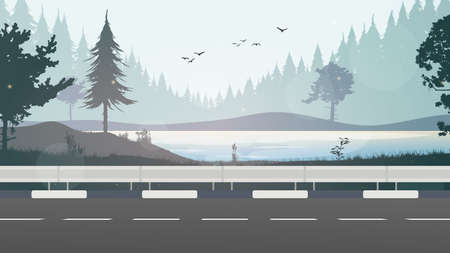 An empty straight road near the river. Forest on the horizon. Vector illustration.