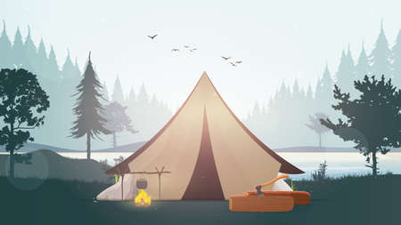 Landscape with a lake, forest, fire, pine tree and tent. Flat vector illustration of tourism and recreation in the wild.
