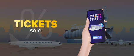 Ticket sale banner. Discount on air tickets. Online reservation. Modern airport. Runway. Airplane on the runway. Vector.