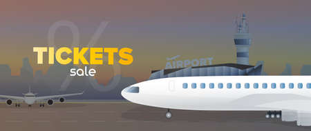 Ticket sale banner. Discount on air tickets. Airplane, airport, runway, city forces. Vector. Vektorové ilustrace